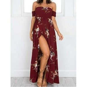 Floral Off the Shoulder  Beach Maxi Dress